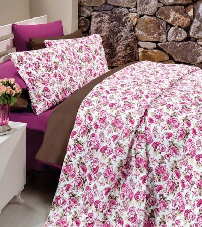 Kupon Double  Panamaغطاء سرير brouwn-fuchsia