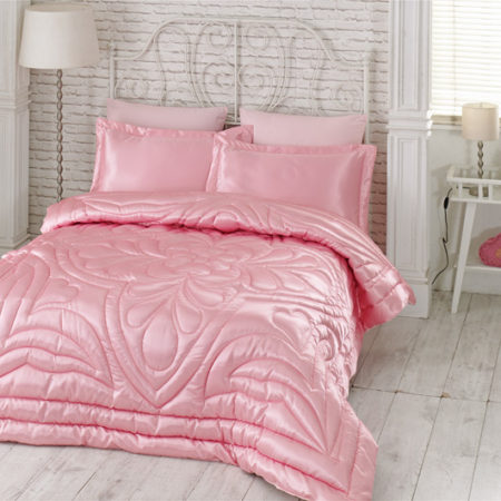 Kupon Double  Saten Quilt 6 Piece طقم مهر Pink