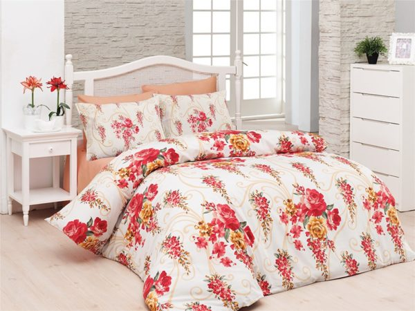 Belenay Double  طقم غطاء لحاف  - Floral red