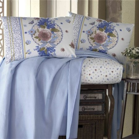 Evim Home Double  luxury boxed طقم غطاء سرير  - Blaze Blue
